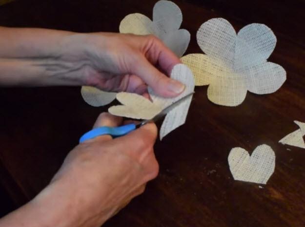 Easy DIY Room Decor   How to Make Burlap Roses   DIY Projects & Crafts by DIY JOY at http://diyjoy.com/how-to-make-burlap-roses-tutorial