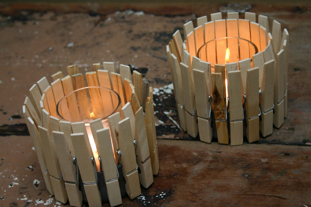 DIY Crafts Ideas - Clothespin Candle Holder Tutorial and Rustic Home Decor