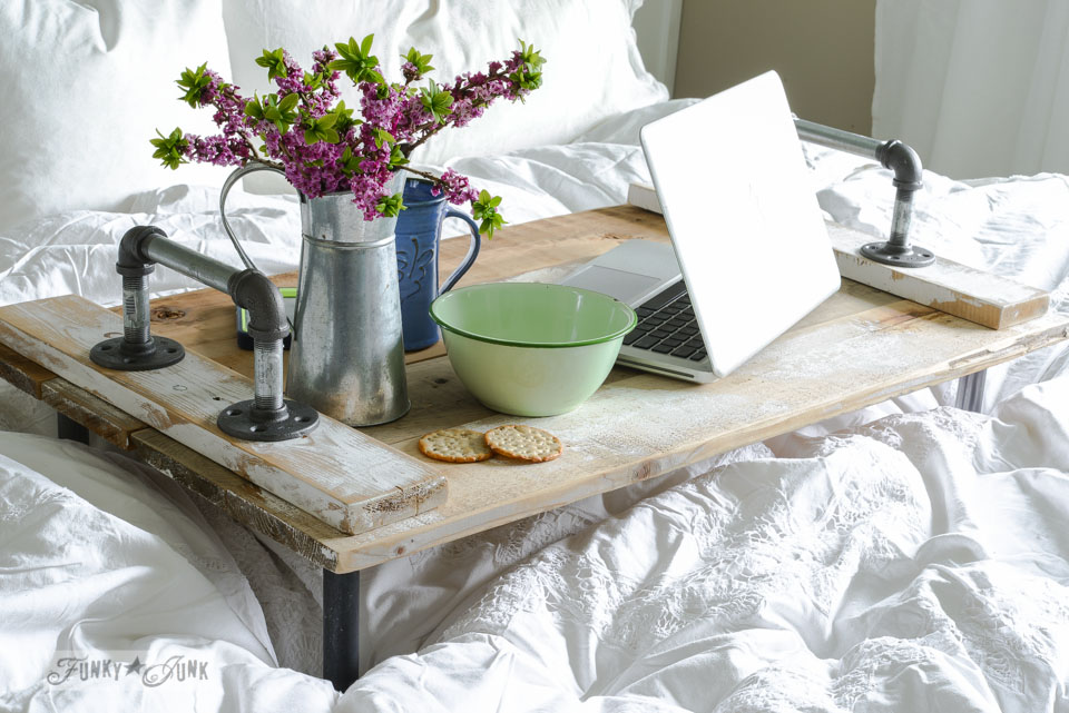 DIY Home Decor Projects - Pipe Handled Bed Tray