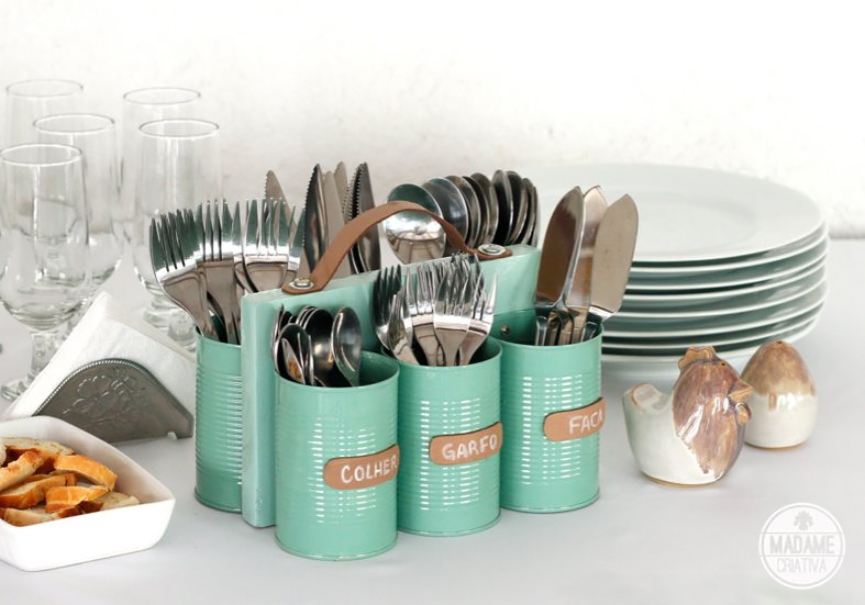 diy silverware caddy painted tin cans