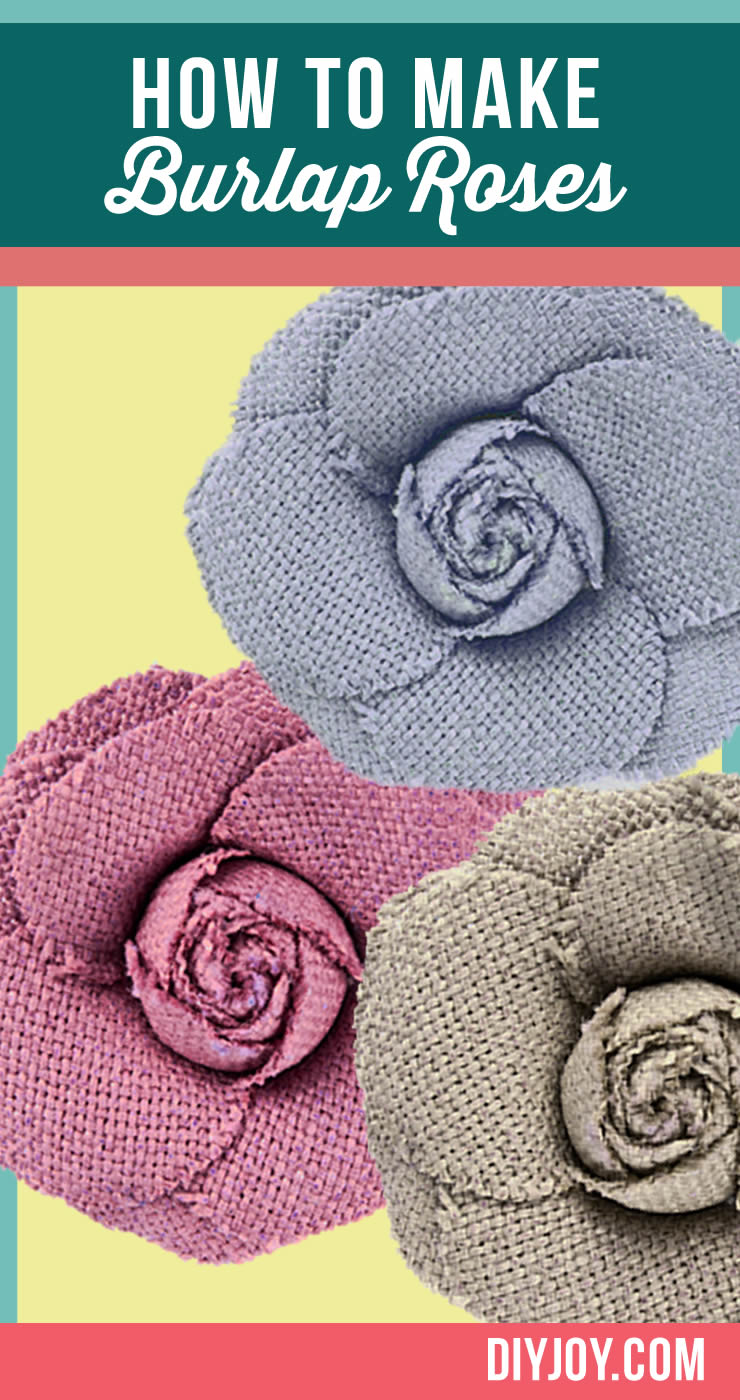 How To Make Burlap Roses Tutorial | DIY Projects & Crafts by DIY JOY at http://diyjoy.com/how-to-make-burlap-roses-tutorial