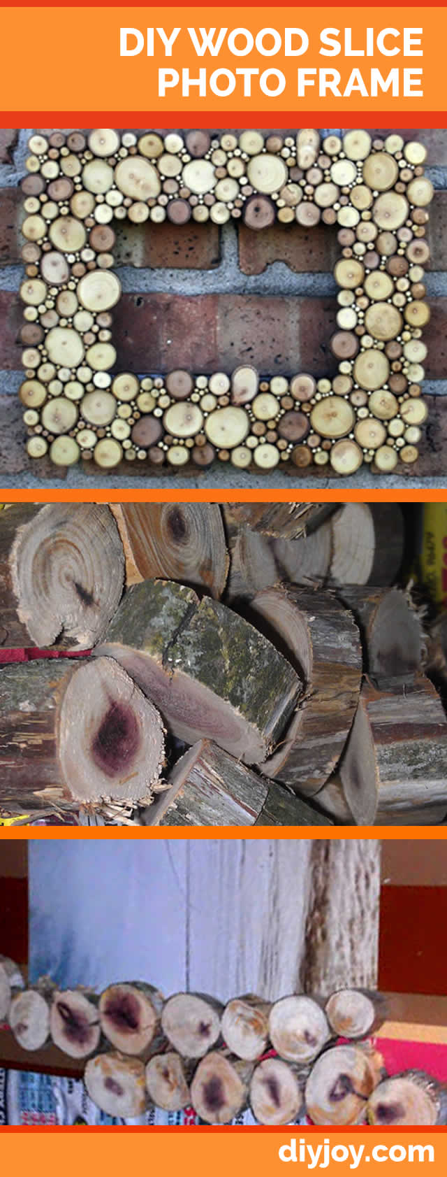 29 rustic diy home decor ideas diy wood slice picture frame rustic home decor ideas solutioingenieria Choice Image