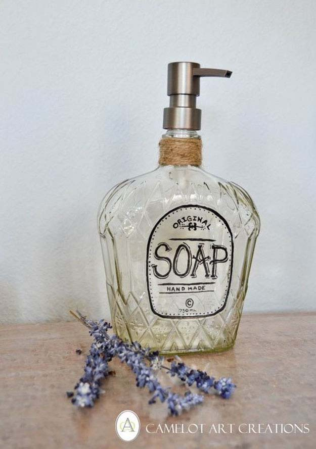 Rustic DIY Home Decor Ideas   Old Vintage Bottles Repurposed   DIY Soap Dispenser from a Bottle   DIY Projects and Crafts by DIY JOY at http://diyjoy.com/craft-ideas-diy-soap-dispensers