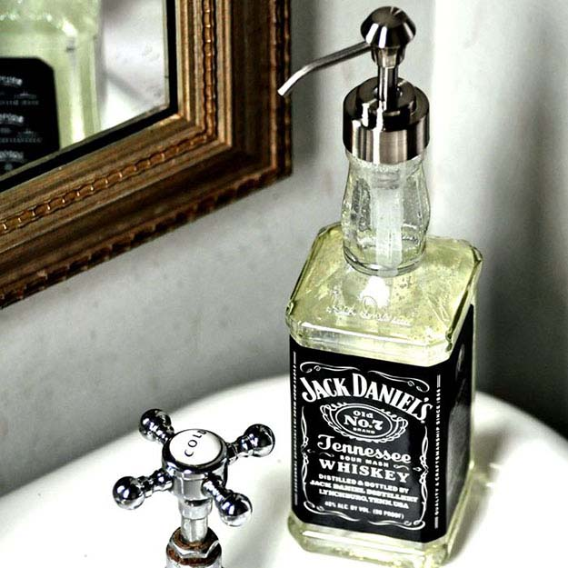Rustic DIY Man Cave Ideas   Vintage Room Decor Ideas   DIY Soap Dispenser from Jack Daniels Bottle   DIY Projects and Crafts by DIY JOY at http://diyjoy.com/craft-ideas-diy-soap-dispensers