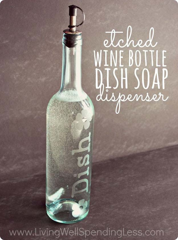 Easy DIY Home Decor on a Budget   Upcyclced Ideas with Bottles   Wine Bottle DIY Soap Dispenser  DIY Projects and Crafts by DIY JOY at http://diyjoy.com/craft-ideas-diy-soap-dispensers