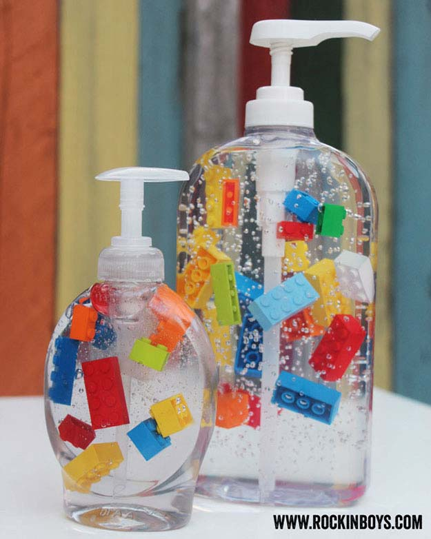 Fun Crafts for Kids | Cute DIY Home Decor Ideas | DIY Soap Dispenser with Legos | DIY Projects and Crafts by DIY JOY at http://diyjoy.com/craft-ideas-diy-soap-dispensers