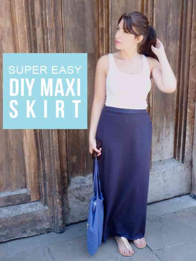 Cute Sewing Ideas for Women | DIY Maxi Skirt Tutorial #sewingideas #sewingprojects