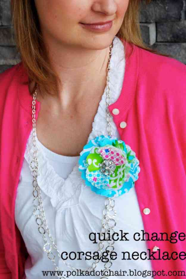Easy Fabric Flowers Sewing Ideas | DIY Necklace Tutorial #sewingideas #sewingprojects