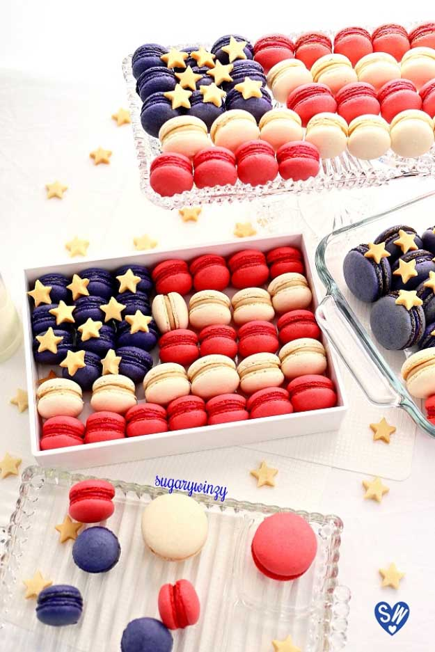 4th of July Dessert Ideas Macaroon Recipes | DIY Projects & Crafts by DIY JOY at http://diyjoy.com/4th-of-july-desserts-pinterest