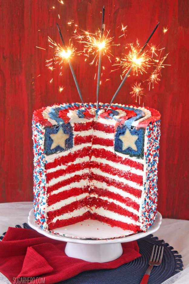 4th of July Dessert Recipes USA Layer Cake | DIY Projects & Crafts by DIY JOY at http://diyjoy.com/4th-of-july-desserts-pinterest