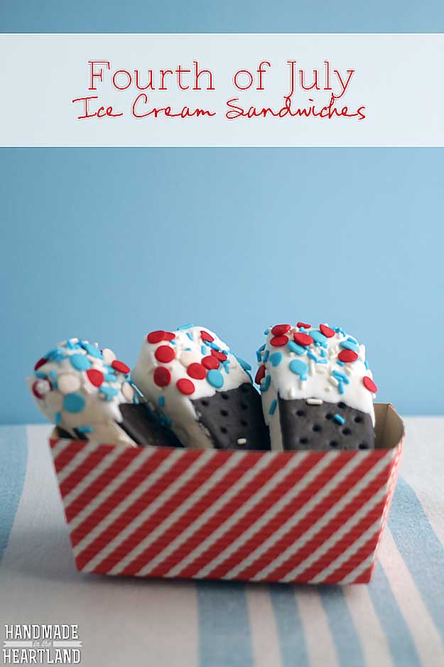 4th of July Dessert Recipes Ice-Cream-Sandwiches | DIY Projects & Crafts by DIY JOY at http://diyjoy.com/4th-of-july-desserts-pinterest