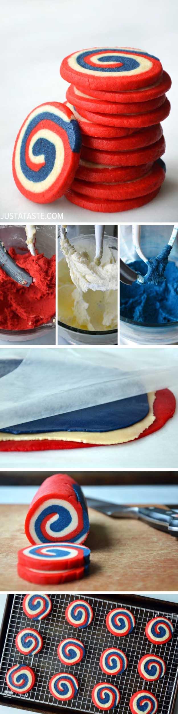 4th of July Dessert Ideas Patriotic Pinwheel Cookie Recipe| DIY Projects & Crafts by DIY JOY at http://diyjoy.com/4th-of-july-desserts-pinterest