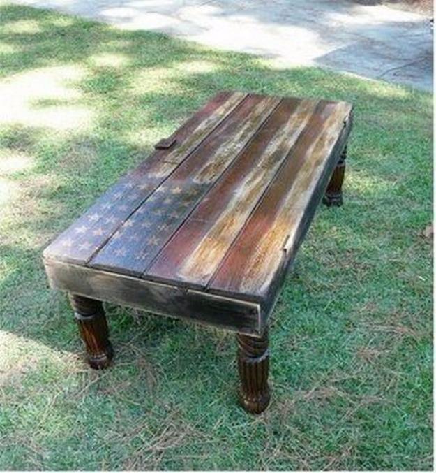 American Flag Barn Door Wood Coffee Table DIY Joy