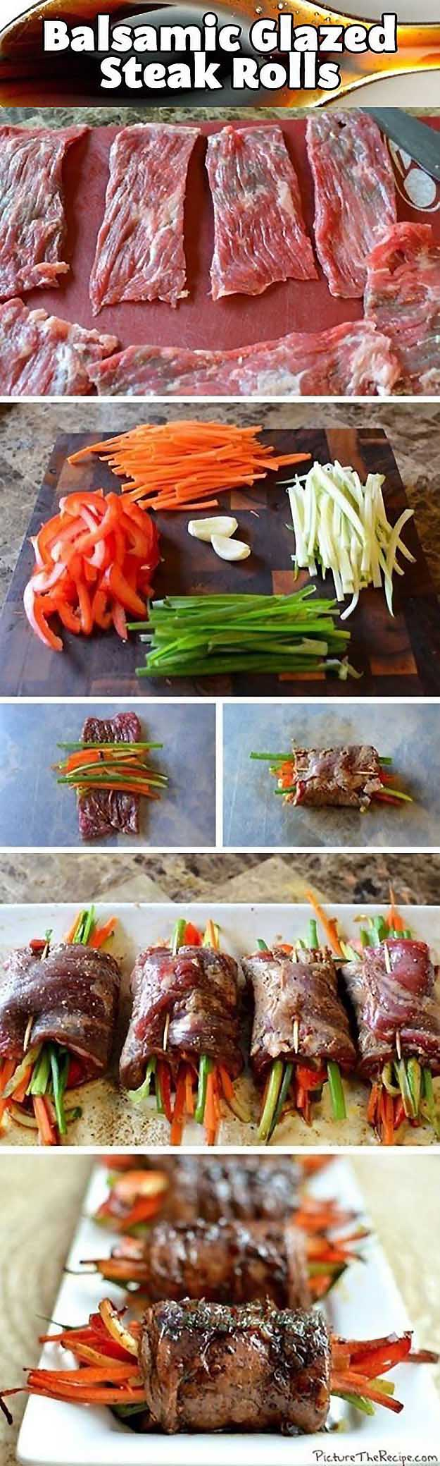 Best 4th of July Recipes and Backyard BBQ ideas - Balsamic Glazed Steak Rolls at http://diyjoy.com/best-4th-of-july-recipes-ideas