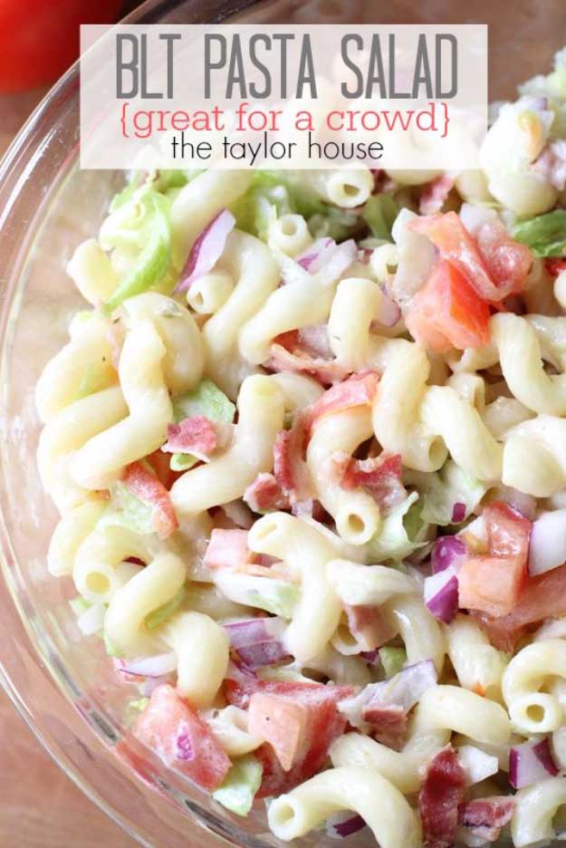 Best 4th of July Recipes and Backyard BBQ ideas - BLT Pasta Salad at #fourthofjuly