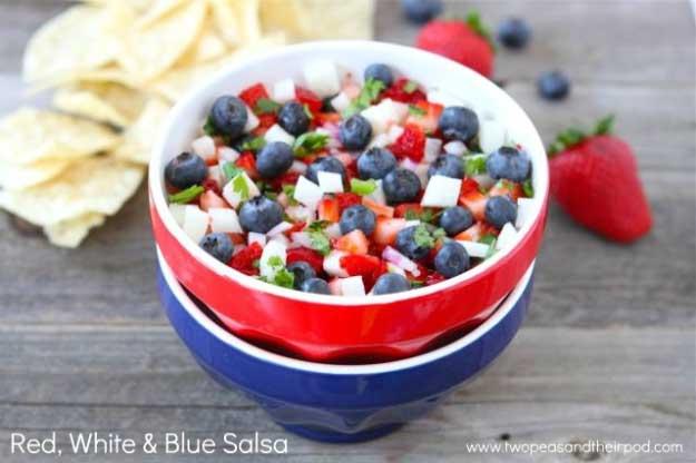 4th of July Recipe Ideas Patriotic Salsa at #fourthofjuly
