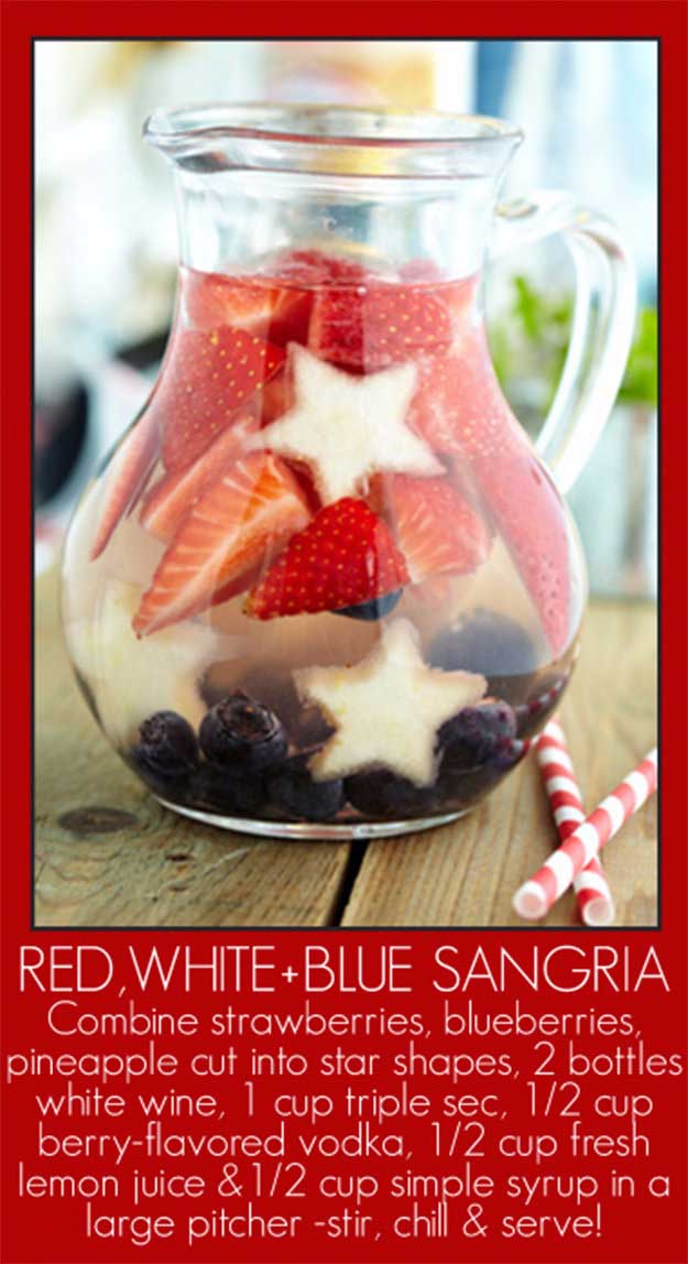 4th of July Drinks Sangria Recipe at http://diyjoy.com/best-4th-of-july-recipes-ideas