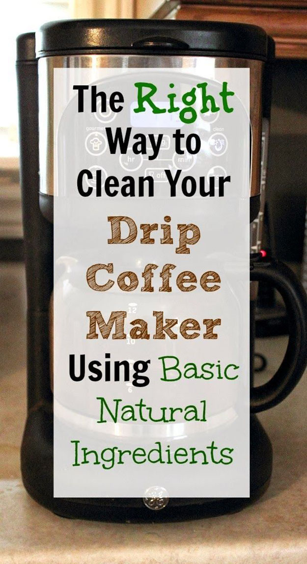Easy Cleaning Hacks for Deep Cleaning Your Coffee Maker | DIY Natural Cleaning Solution | DIY Projects & Crafts by DIY JOY at http://diyjoy.com/cleaning-tips-life-hacks