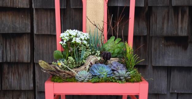 DIY Chair Planter Feature Image at http://diyjoy.com/backyard-ideas-diy-planter-box