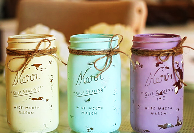 Mason Jar Crafts How To Chalk Paint Your Mason Jars Diy Joy