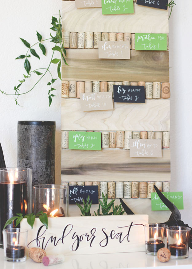 Wine Cork Crafts for DIY Wedding Decor - DIY Cork Board for Wedding Table Numbers - DIY Projects & Crafts by DIY JOY #crafts