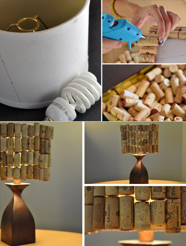 Easy Wine Cork Crafts & DIY Decor Projects - DIY Lampshade from Wine Corks - DIY Projects & Crafts by DIY JOY at http://diyjoy.com/diy-wine-cork-crafts-craft-ideas