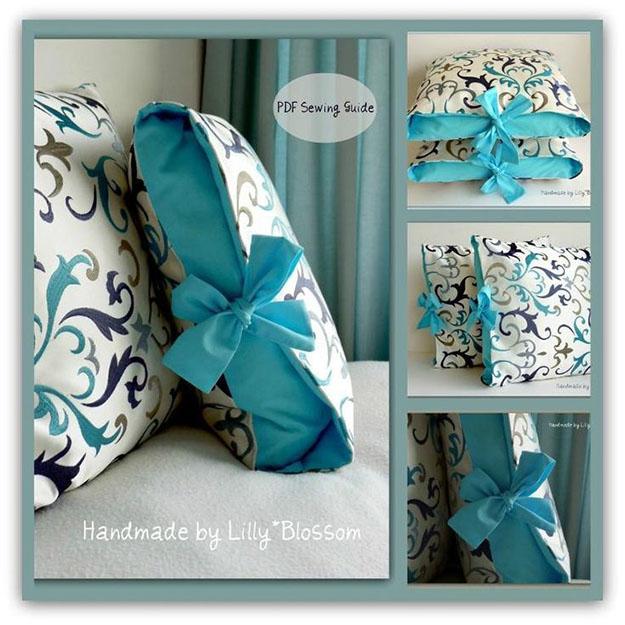 DIY Sewing Projects- Pillowcase Ideas -DIY Pillowcase with Ribbon Ties #sewing #pillowcases