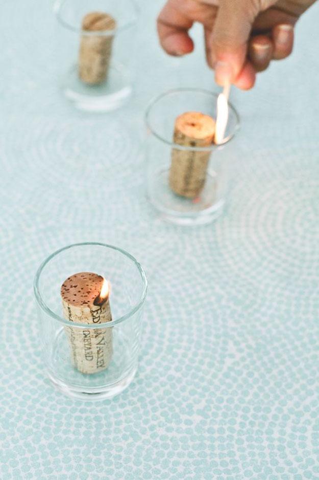 Wine Cork Crafts - Cheap DIY Home Decor Ideas - Wine Cork Candles - DIY Projects & Crafts by DIY JOY