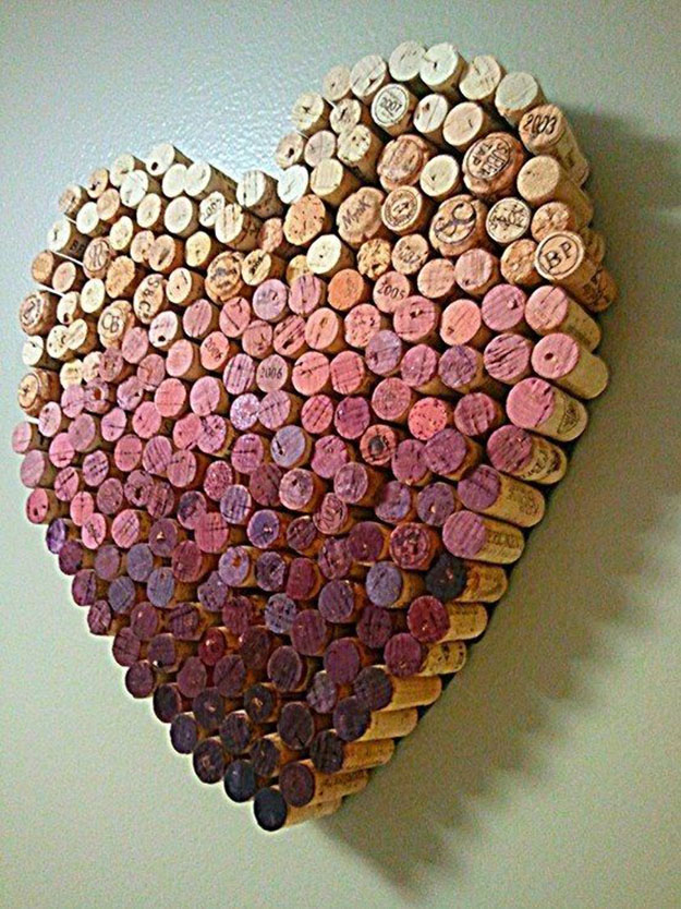 Wine Cork Craft Ideas for DIY Wall Decor - DIY Wine Cork Heart - DIY Projects & Crafts by DIY JOY #crafts