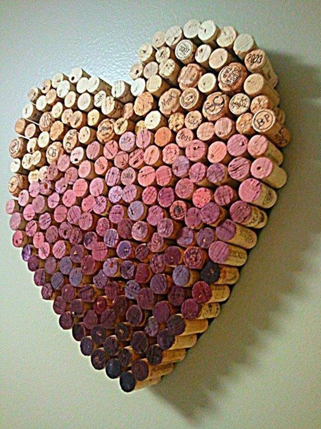 Wine Cork Craft Ideas for DIY Wall Decor - DIY Wine Cork Heart - DIY Projects & Crafts by DIY JOY #crafts