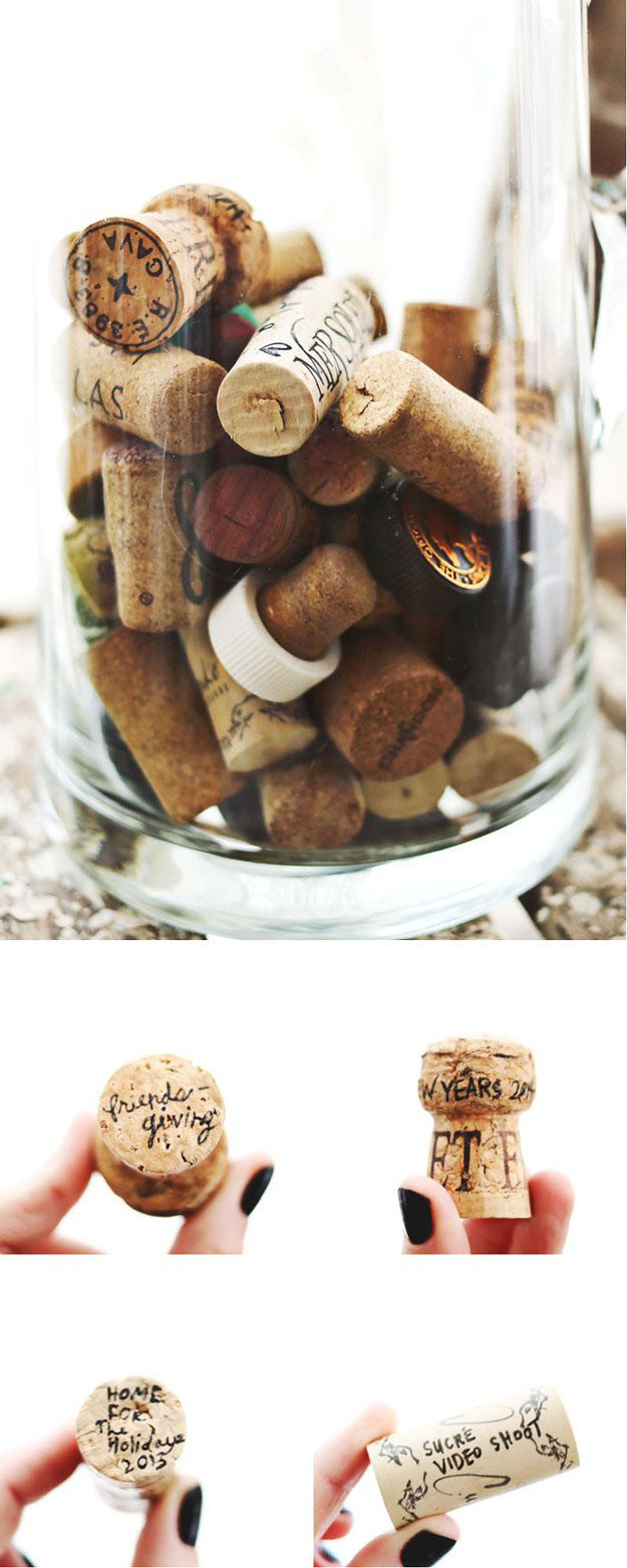 Easy Wine Cork Crafts & DIY Decor Ideas - DIY Wine Cork Memory Keepers - DIY Projects & Crafts by DIY JOY at http://diyjoy.com/diy-wine-cork-crafts-craft-ideas