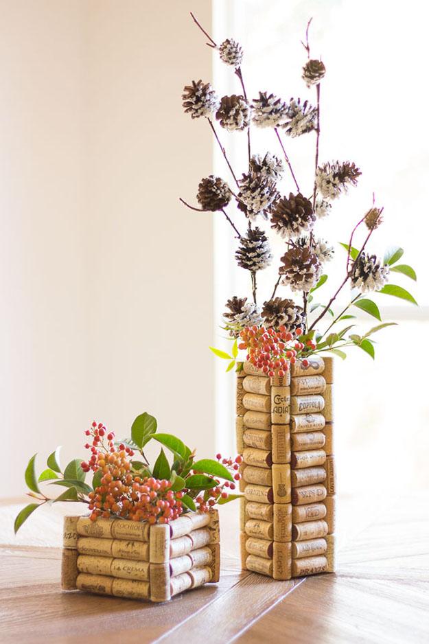 Easy Wine Cork Crafts for DIY Home Decor - DIY Wine Cork Vases - DIY Projects & Crafts by DIY JOY #crafts