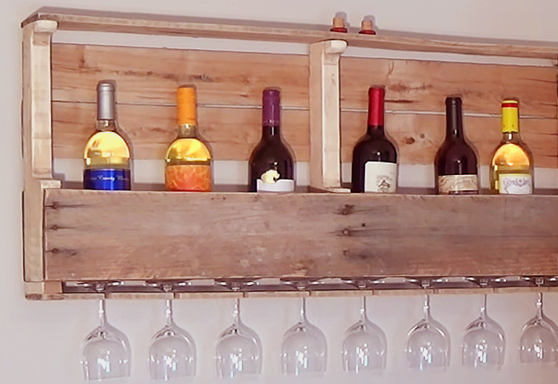 DIY Pallet Project Ideas for the Home | Storage Solutions and Organizaton Ideas | DIY Pallet Wall Wine Rack | DIY Projects and Crafts by DIY JOY at http://diyjoy.com/diy-wood-pallet-wine-rack