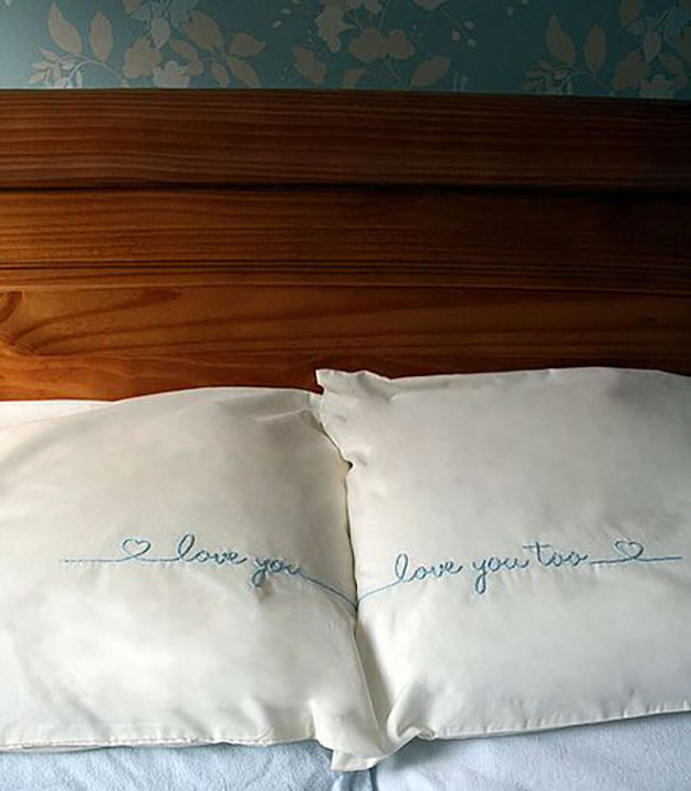 Embroidered Pillowcases #sewing #pillowcases