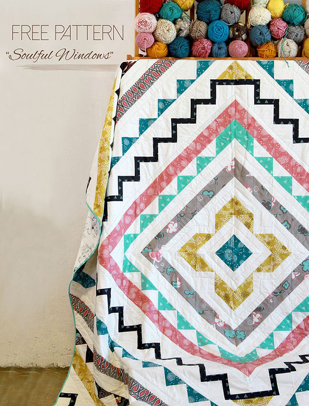 Free Sewing Patterns | DIY Room Decor Ideas | Geometric Quilt Tutorial | DIY Projects & Crafts by DIY JOY at http://diyjoy.com/free-quilt-patterns-easy-sewing-projects
