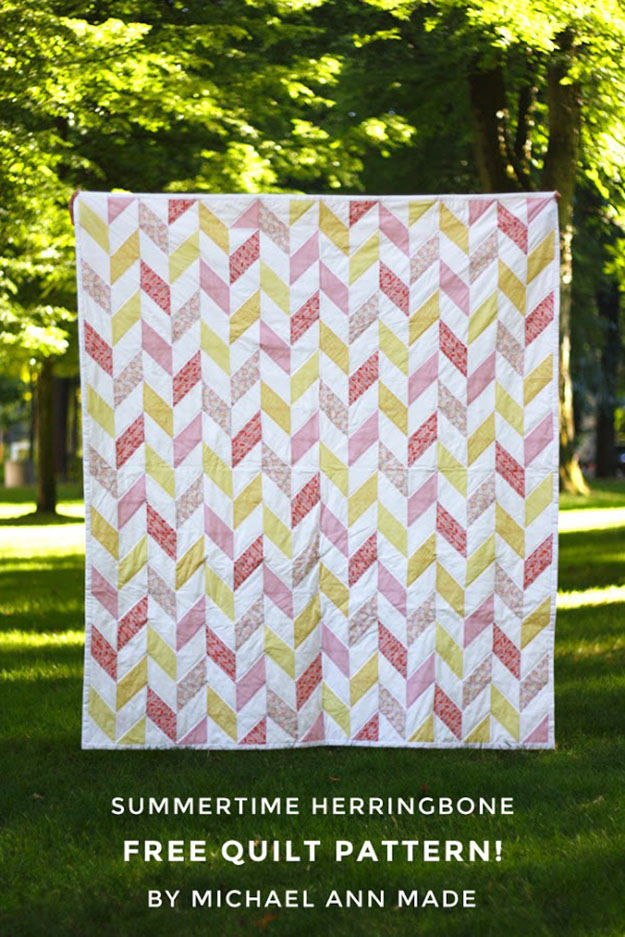 Easy Free Sewing Patterns | Herringbone Quilt Pattern | DIY Projects & Crafts by DIY JOY at