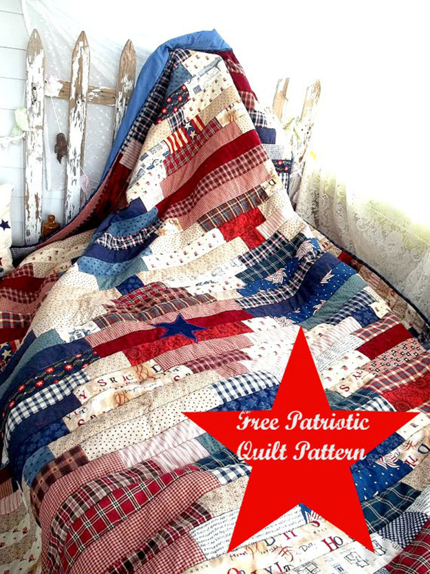 Country Quilt Pattern | Free Sewing Pattern for Patriotic Quilt | DIY Projects & Crafts by DIY JOY at