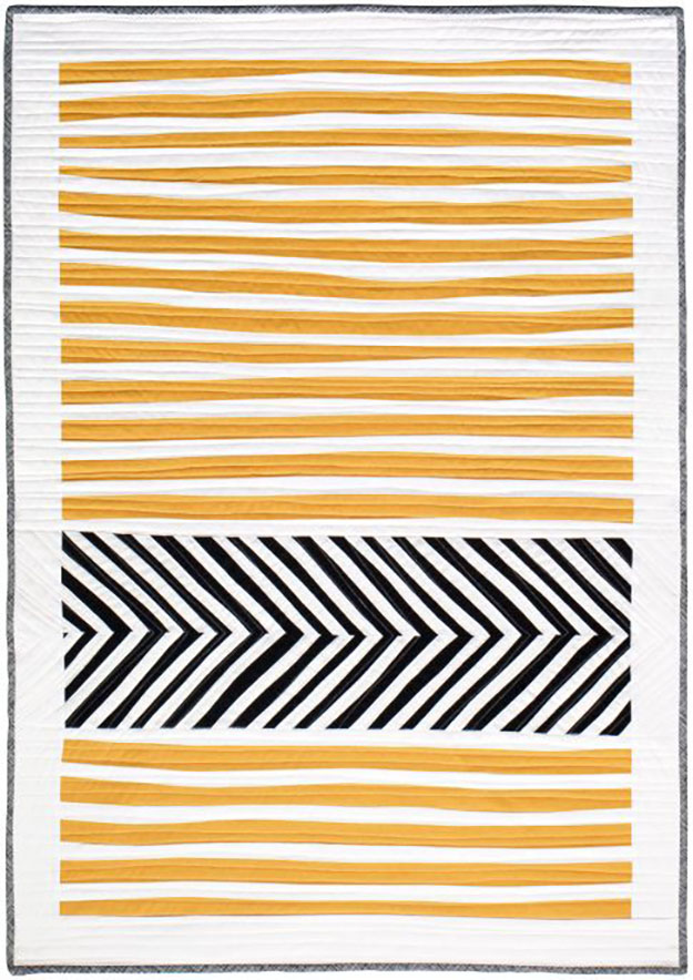 Stripes and Herringbone Quilt Pattern | Modern Sewing Patterns for a Unique Quilt | DIY Projects & Crafts by DIY JOY at