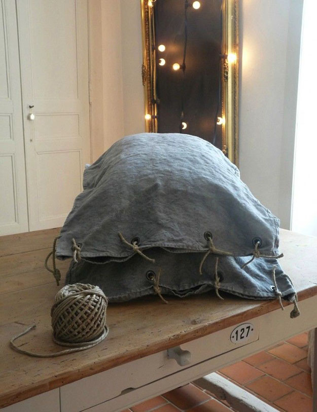 DIY Sewing Projects- Pillowcase Ideas - Grain Sack Pillow with Rope Ties #sewing #pillowcases