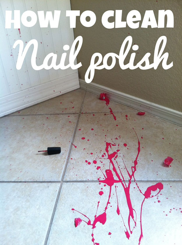 Deep Cleaning Hack for Stains | How to Get Nail Polish Out of Tile | DIY Projects & Crafts by DIY JOY at http://diyjoy.com/cleaning-tips-life-hacks