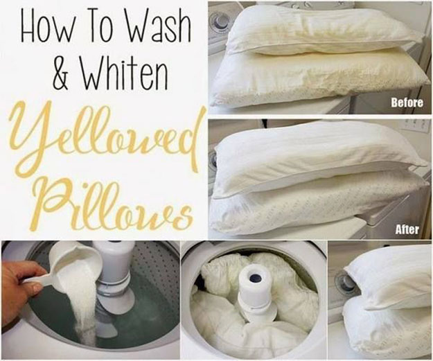 Easy Cleaning Hacks for the Bedroom | How to Whiten Yellowed Pillows | DIY Projects & Crafts by DIY JOY at http://diyjoy.com/cleaning-tips-life-hacks