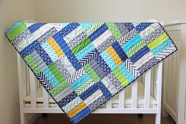 Easy Jelly Roll Quilt Pattern   Free Sewing Pattern   Cute Quilt for Boys   DIY Projects & Crafts by DIY JOY at