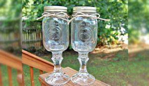 How to Turn Dollar Store Treasures Into Mason Jar Wine Glasses