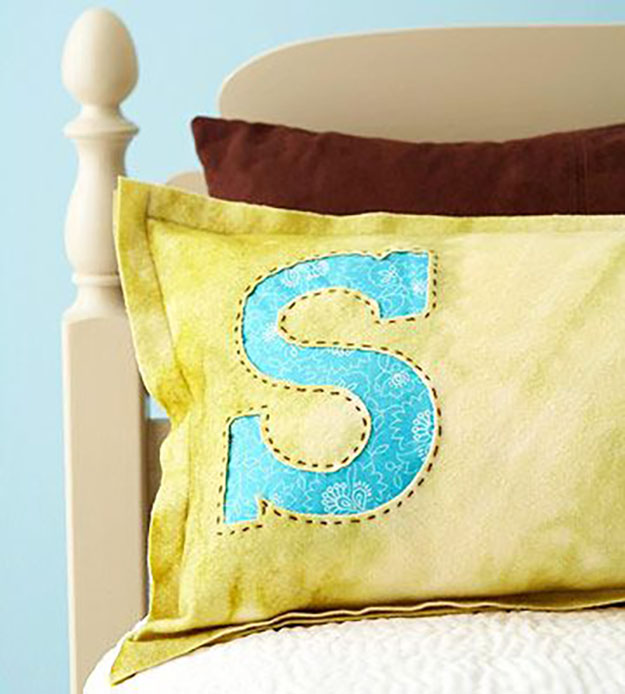 DIY Sewing Projects- Pillowcase Ideas -Monogram Pillowcase Sewing Tutorial #sewing #pillowcases