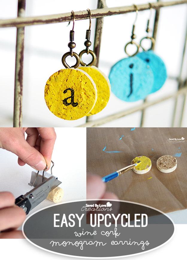 Wine Cork DIY Jewelry Projects & Tutorials - DIY Wine Cork Monogram Earrings - DIY Projects & Crafts by DIY JOY at http://diyjoy.com/diy-wine-cork-crafts-craft-ideas