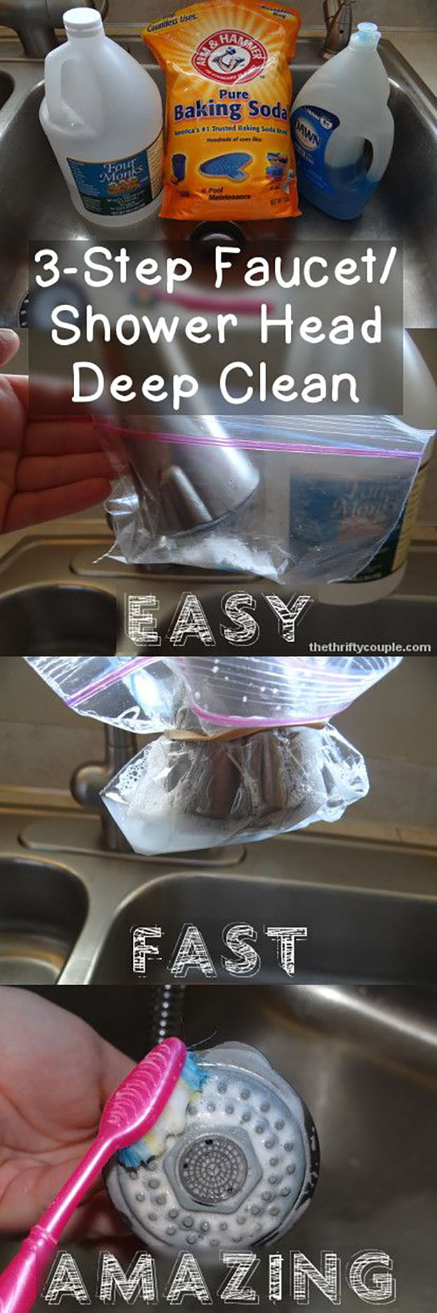 DIY Bathroom Cleaning Hacks | Shower Head Cleaning Tips and Tricks | DIY Projects & Crafts by DIY JOY at http://diyjoy.com/cleaning-tips-life-hacks