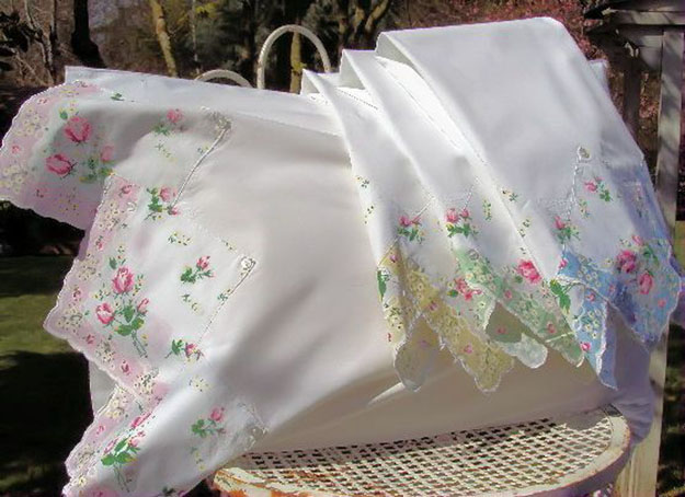 DIY Sewing Projects- Pillowcase Ideas - Vintage Hankie Pillowcase   Projects and Crafts by DIY JOY #sewing #pillowcases