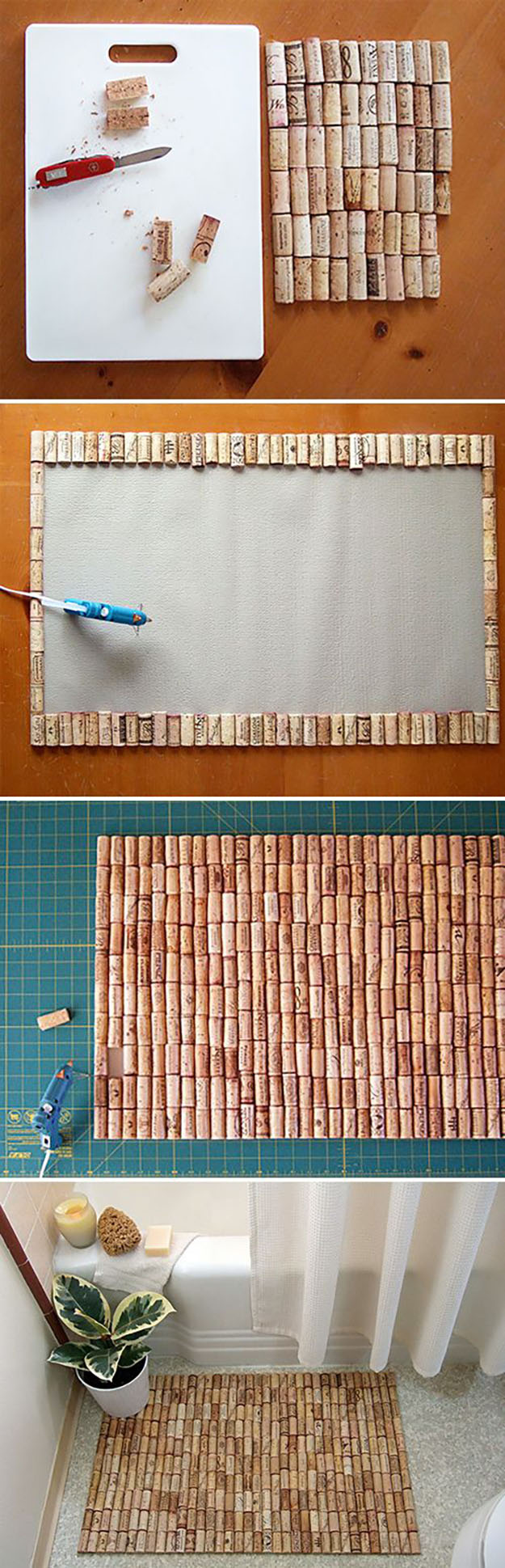 Easy Wine Cork Craft Ideas for the Home - DIY Wine Cork Bathmat - DIY Projects & Crafts by DIY JOY at http://diyjoy.com/diy-wine-cork-crafts-craft-ideas