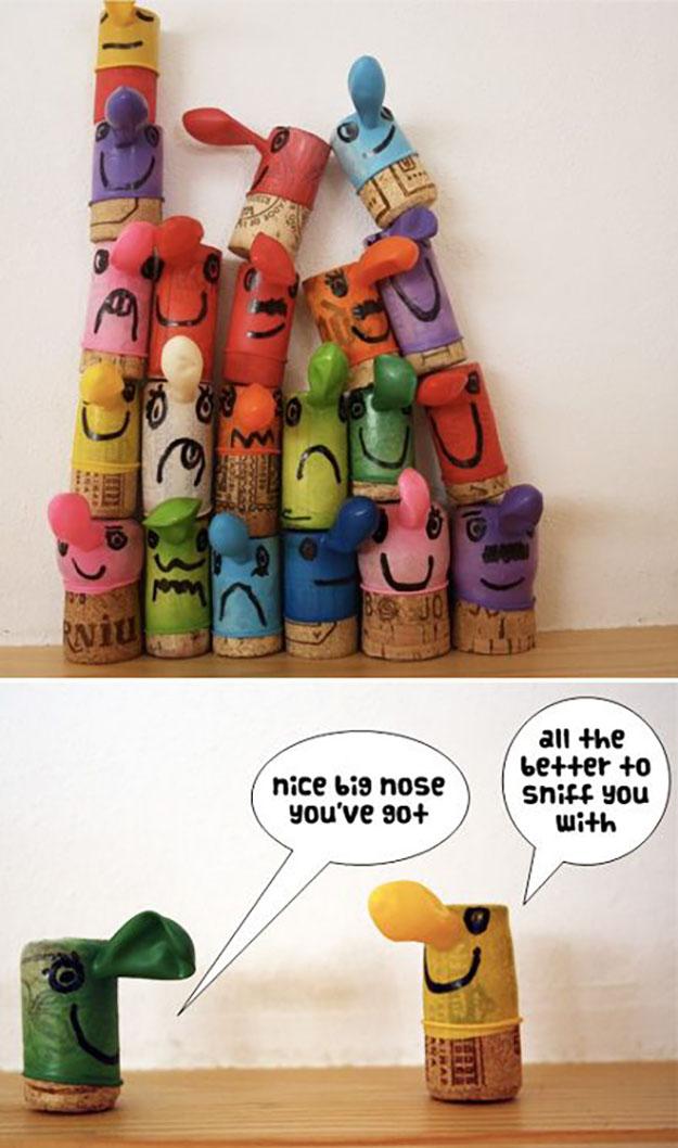 Wine Cork Crafts for Kids to Make - Wine Cork Buddies - DIY Projects & Crafts by DIY JOY