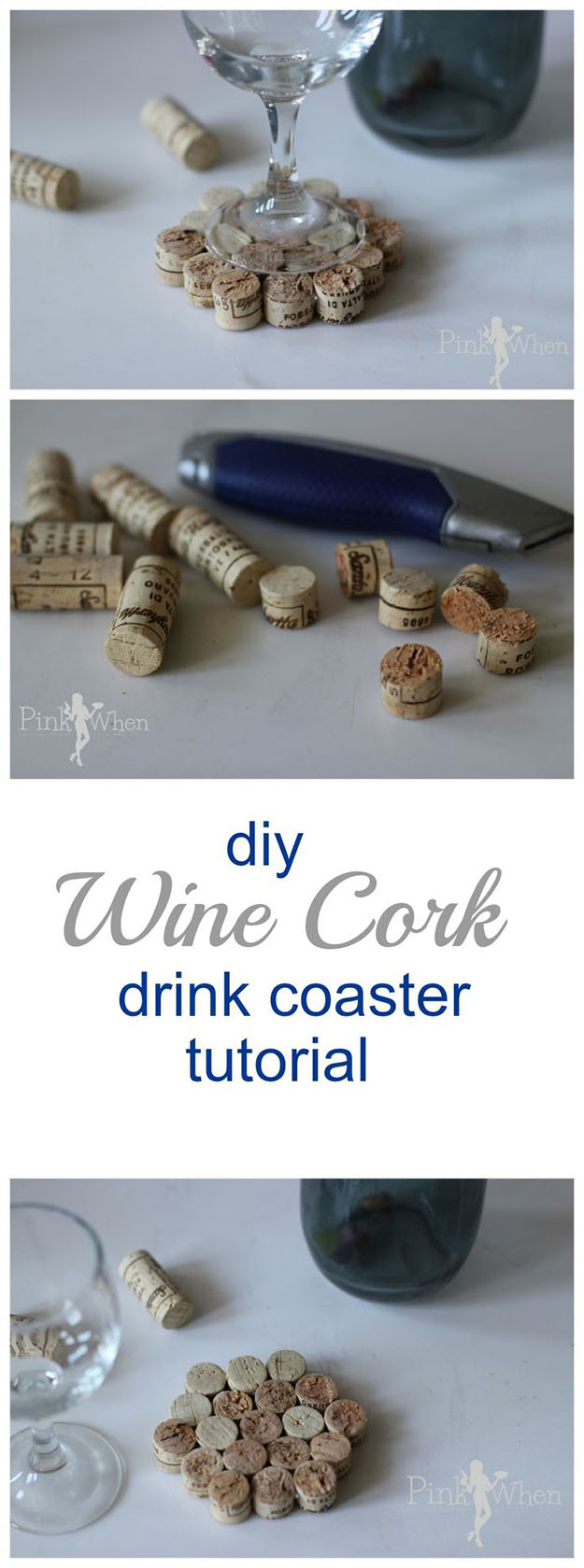 Easy Wine Cork Crafts & Small Projects for the Kitchen - Wine Cork DIY Coasters - DIY Projects & Crafts by DIY JOY #crafts
